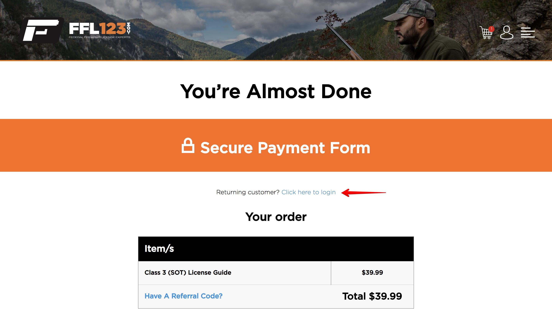 FFL123 checkout login